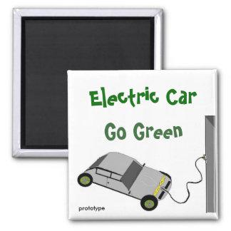 Elektrisches Auto gehen Grün Quadratischer Magnet