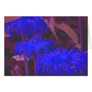 Elektrisches blaues Gänseblümchen Grußkarte