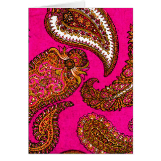 Elektrisches Fuscia Inder-Paisley-Rosa Grußkarte