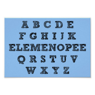 Elemenopee Alphabet-lustiges Plakat-Zeichen Poster