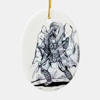 Elementare Luft-Samurais Keramik Ornament