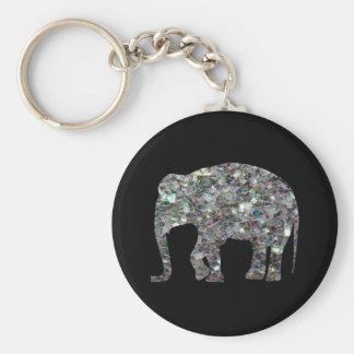 Éléphant argenté coloré scintillant de mosaïque de porte-clé
