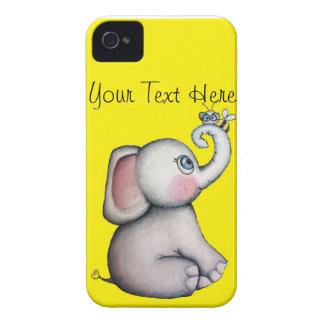 Éléphant de bébé avec le jaune de caisse de Blackb Coques iPhone 4 Case-Mate