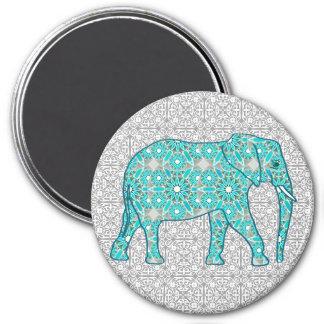 Éléphant de fleur de mandala - turquoise, gris et aimants pour réfrigérateur