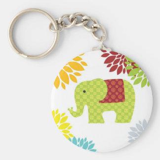 Éléphant hippie assez coloré flower power porte-clé rond
