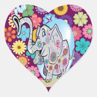 Éléphant hippie mignon avec les fleurs colorées autocollants en cœur