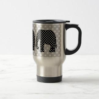 Éléphant noir et blanc de pois tasses à café