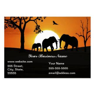 Éléphants au coucher du soleil carte de visite grand format