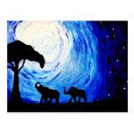 Éléphants sous le clair de lune (art de K.Turnbull Carte Postale