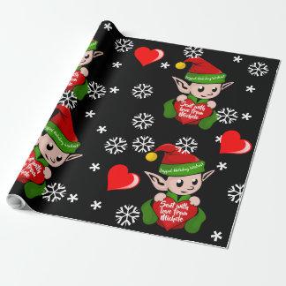Elf-Liebe-Geschenk-Verpackung personalisiert Geschenkpapier