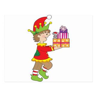 Elf mit Geschenk Postkarte