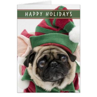 Elf-Mops-Weihnachtskarte Grußkarte