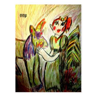 Elf- und Einhornkunst eine Postkarte