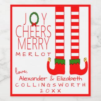 Elf-Weihnachtsmerlot-Wein-Flaschen-Aufkleber Weinetikett