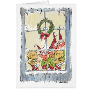 Elfe, welche die freche Listen-Weihnachtskarte Karte