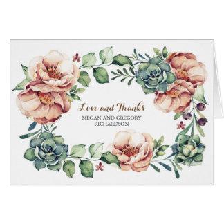 Elfenbein Blumen- und Succulentsfall danken Ihnen Karte