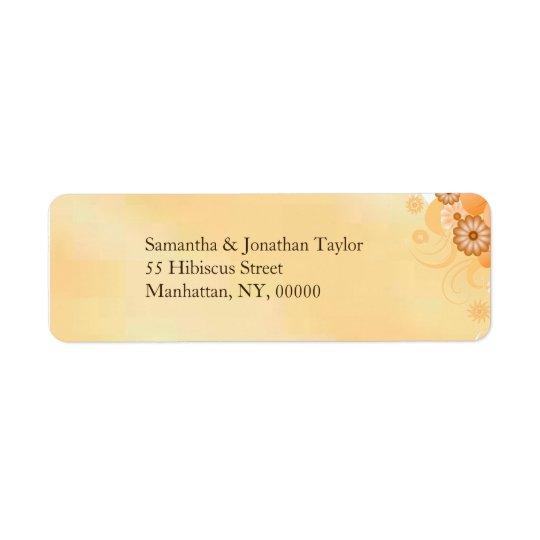 Elfenbein-GoldHibiskus-kleine Hochzeits-mit Kleiner Adressaufkleber
