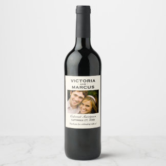 Elfenbein-Hochzeits-Foto-Wein-Flaschen-Bevorzugung Weinetikett