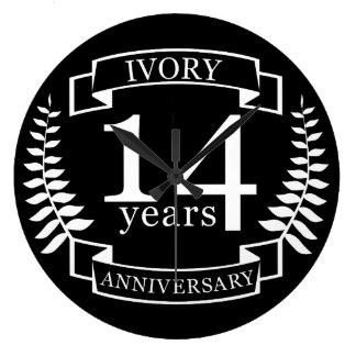 Elfenbein-Hochzeitstag 14 Jahre Große Wanduhr