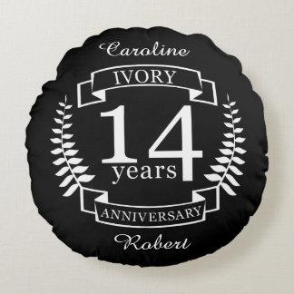 Elfenbein-Hochzeitstag 14 Jahre Rundes Kissen