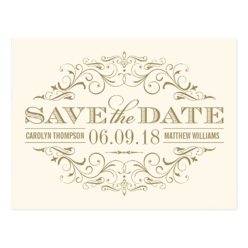 Elfenbein-und des GoldSave the Date | Strudel und Postkarten