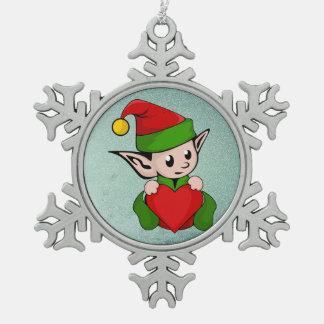 Elfrotherz Schneeflocken Zinn-Ornament