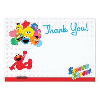 Elmo und Kumpel-Geburtstags-Ballone danken Ihnen 8,9 X 12,7 Cm Einladungskarte