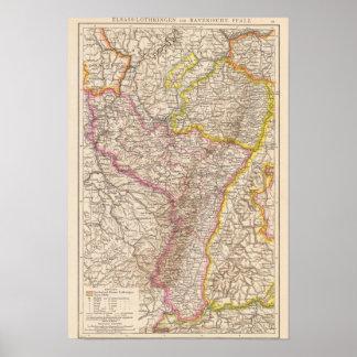 ElsassLothringen, Bayerische Pfalz Atlas-Karte Poster