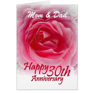 ELTERN - 30. Hochzeits-Jahrestag mit rosa Rose Karte