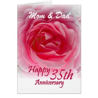 ELTERN - 35. Hochzeits-Jahrestag mit rosa Rose Grußkarte