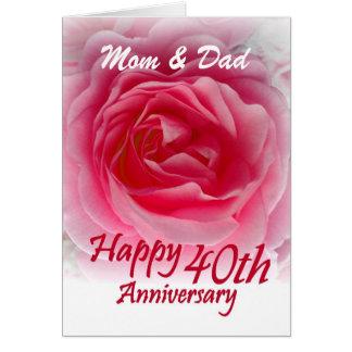 ELTERN - 40. Hochzeits-Jahrestag mit rosa Rose Karte