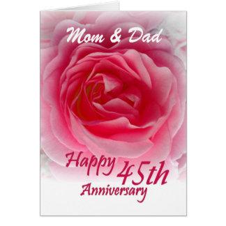 ELTERN - 45. Hochzeits-Jahrestag mit rosa Rose Karte