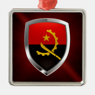 Emblem Angolas Mettalic Quadratisches Silberfarbenes Ornament