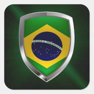 Emblem Brasiliens Mettalic Quadratischer Aufkleber