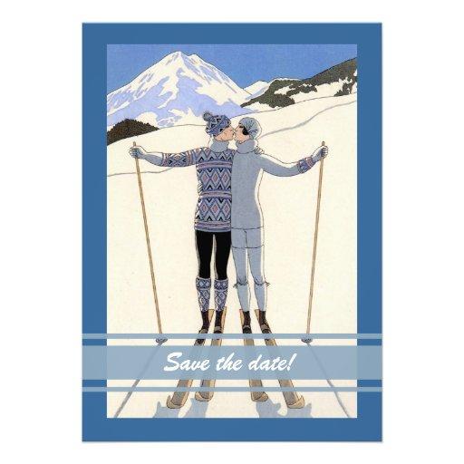 embrassant des skieurs - économies d'hiver le fair faire-part