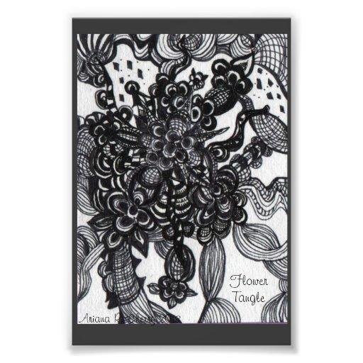 Embrouillement de fleur : Zentangle a inspiré Photographies D'art