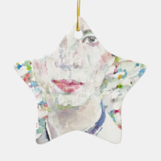 Emily Dickinson - Aquarellporträt Keramik Stern-Ornament