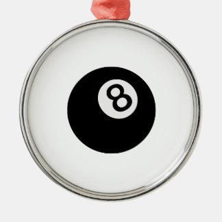 emoji acht Ball Rundes Silberfarbenes Ornament