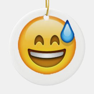 Emoji - Angstschweiß Rundes Keramik Ornament