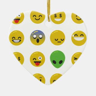 Emoji glückliches Gesicht Keramik Herz-Ornament