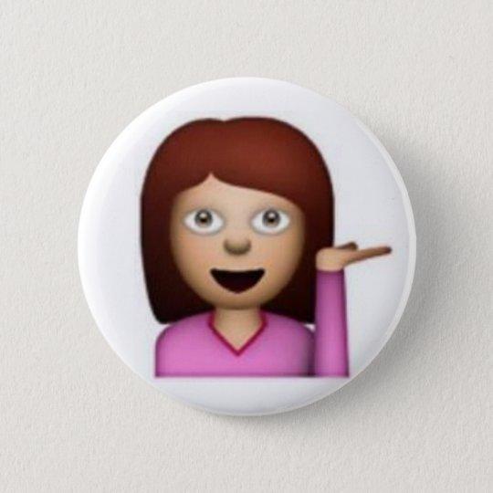 Emoji Mädchen Runder Button 5,1 Cm