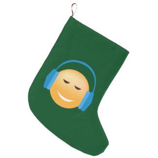 Emoji mit Kopfhörern Großer Weihnachtsstrumpf