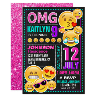 Emoji rosa Glitter-Geburtstags-Einladung Karte