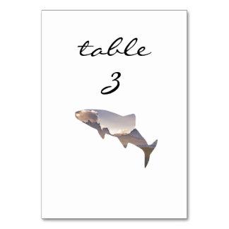 Empfangs-Tischnummer-rustikale Gebirgsfische Karte