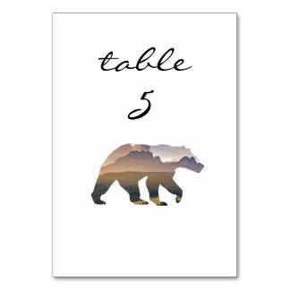 Empfangs-Tischnummer-rustikaler Waldbär Karte