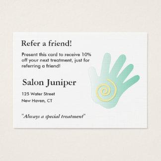 Empfehlungs-Karte mit der Massagehand Jumbo-Visitenkarten