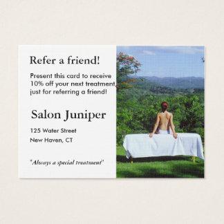 Empfehlungs-Karte mit Massagetabelle im Freien Jumbo-Visitenkarten