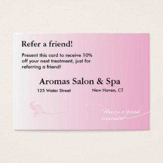 Empfehlungs-Karte mit schattiertem rosa Jumbo-Visitenkarten