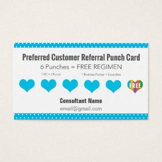 Empfehlungs-Lochkarte - Blau mit weißen Tupfen Visitenkarten