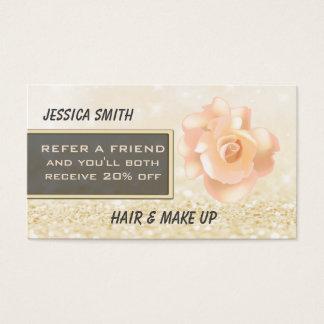 Empfehlungskarte Luxusbrihgt glittery Chic-Rose Visitenkarten